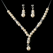 Children's Necklace Earring Set8442 Silver Ivory