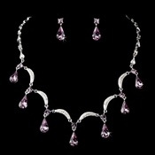 Light Amethyst and Crystal Teardrop Necklace 71562