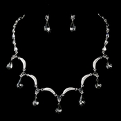 Silver Smoked Black Diamond Necklace Earring Set 71562