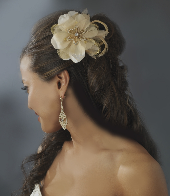 Gold Feather Bridal Fascinator Brooch Clip 8106