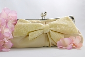 Champagne Matte Satin Beaded Bow Bridal Evening Bag EB 301