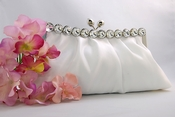 Chic White Satin Clear Rhinestone Evening Bag 302