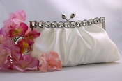 Chic Ivory Satin Clear Rhinestone Evening Bag 302