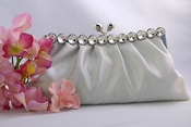 Chic Silver Satin Clear Rhinestone Evening Bag 302