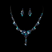 Navy Blue & Turquoise Stunning Jewelry Set NE 919