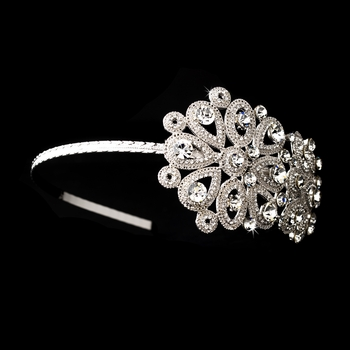 Vintage Floral Crystal Covered Headpiece with Side Accent in Rhodium Silver 6547