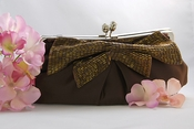 Brown Matte Satin Beaded Bow Bridal Evening Bag EB 301