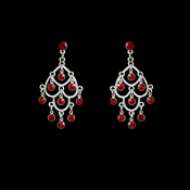 Earring 20476 Silver Red