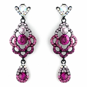 * Four Tone Pink Mix on Black Chandelier Earring Set 8540