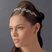 Headpiece 11453 Silver Clear Floral Vine Band