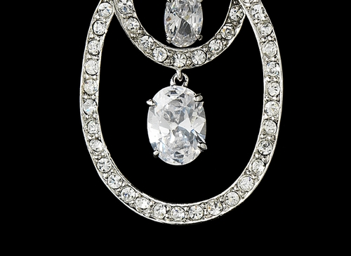 Stunning Antique Silver Clear CZ Double Loop Earrings E 3846