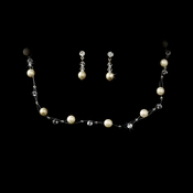 Ivory Pearl Illusion Bridal Necklace Earring Set 207 Silver