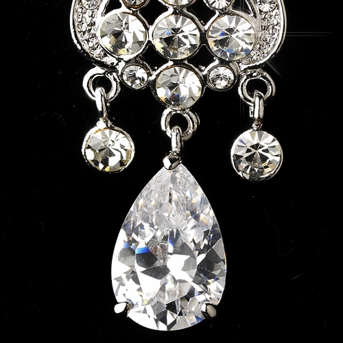 * Antique Silver Clear Cubic Zirconia Earring Set  E 1990