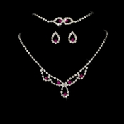 * Sparkling Fuchsia Crystal Bridal Jewelry Set NEB 361
