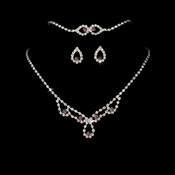 * Sparkling Light Amethyst Crystal Bridal Jewelry Set NEB 361