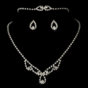* Silver Clear Matching Necklace Set NEB 361