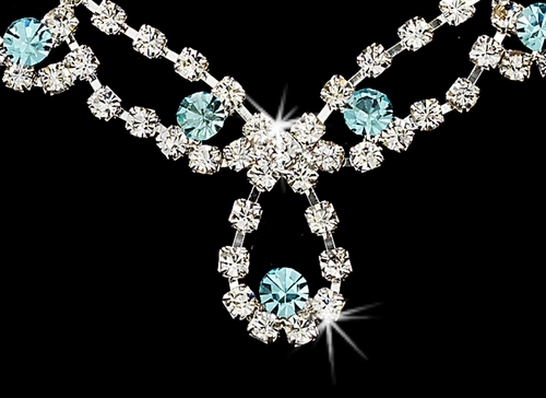 * Sparkling Aqua Crystal Bridal Jewelry Set NEB 361
