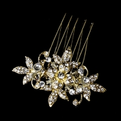 Stunning Clear Rhinestone & Crystal Flower Hair Pin 1583 Gold