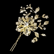 * Lovely Gold Clear Rhinestone Flower Hair Pin 908