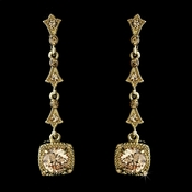 Gold & Topaz Crystal Drop Earrings E 946