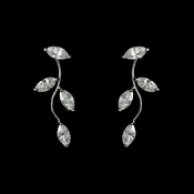 * Alluring Silver Clear CZ Vine Earrings 3522