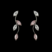 * Alluring Silver Pink CZ Vine Earrings 3522