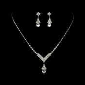 Silver Clear Crystal Drop Jewelry Set NE 344