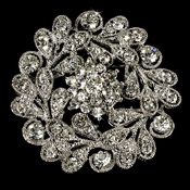 Elegant Vintage Crystal Bridal Pin for Hair or Gown Brooch 24 Antique Silver with Rhinestones