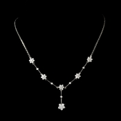 Stunning Antique Silver Clear CZ Flower Necklace 3677