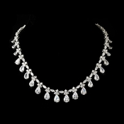 Gorgeous Cubic Zirconia Drop Silver Accent Necklace N 2404