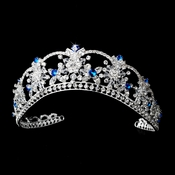 Sparkling Rhinestone & Swarovski Crystal Covered Tiara with Turquoise Iridescent Accents in Silver 523