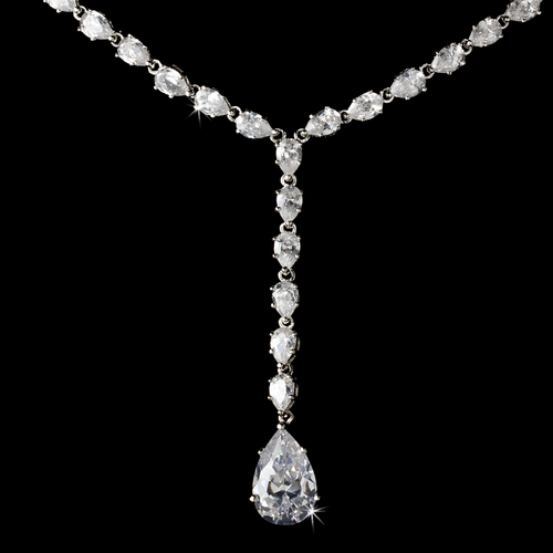 Dazzling Silver Clear CZ Necklace & Earring Set 50061