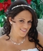 Fabulous Silver Clear Crystal & White Pearl Flower Necklace & Earring Set 6878
