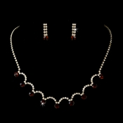 Silver Necklace & Earring Set with Dark Topaz Crystals 71534