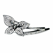 * Clear Aurora Borealis Crystal Butterfly on Black Hair Clip 465