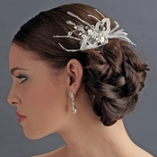 * Gorgeous White Butterfly Bridal Hair Comb with Feathers & Rhinestones 8419