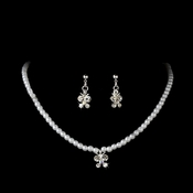 Childrens Silver  Butterfly Pearl Crystal Jewelry Set NE 7949