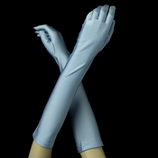 Matte Satin Bridal Bridesmaid Gloves - Sky Blue