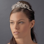 * Antique Rhodium or Silver Plated Crystal Rhinestone Majesty Tiara - HP 9032