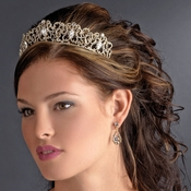 * Majestic Gold Clear Crystal Tiara Headpiece 9829 *** irregular Marks ***