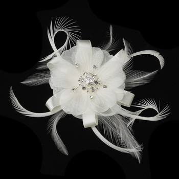 * Rhinestone Feather Ribbon Brooch Pin with Fascinator Clip 2531  (White or Ivory)