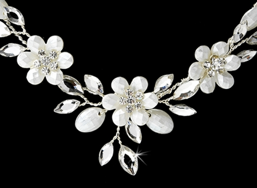 Silver Floral Bridal Jewelry Set NE 8309