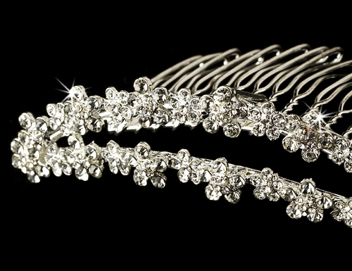 * Silver Plated Floral Comb 3015