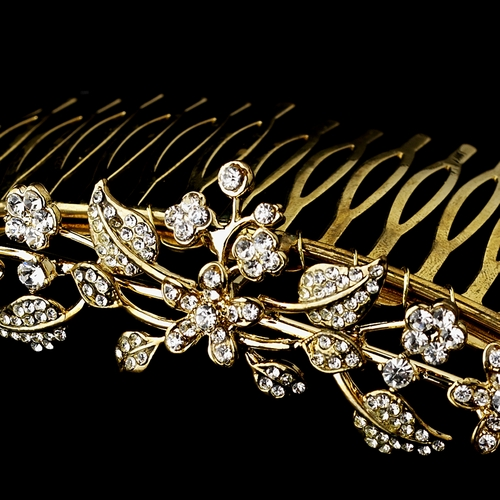 * Lovely Petite Gold Floral Hair Comb w/ Clear Rhinestones 6059