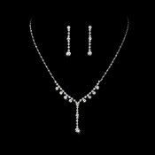 Necklace Earring Set NE 7157 Silver Clear