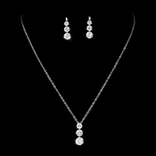 Three Stone Cubic Zirconia Bridal Jewelry Set NE 70756 Silver