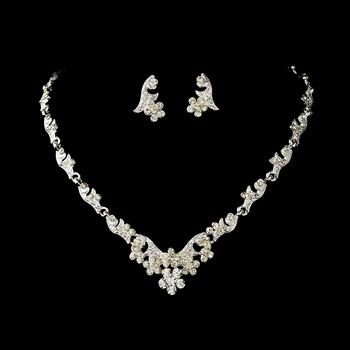 * Necklace Earring Set NE 390 Silver Clear