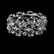 "Leaf Design Silver Wedding Bracelet B 930 (stretch 6"" inch or 7"" inch long)"