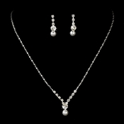 Dainty Pearl & Rhinestone Bridal Jewelry Set NE 71886 (Silver or Gold)