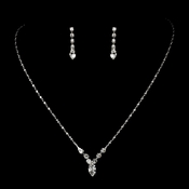 Beautiful Silver Crystal Bridal Jewelry Set NE 307***Discontinued***